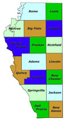 Adams County, WI Map of Townships