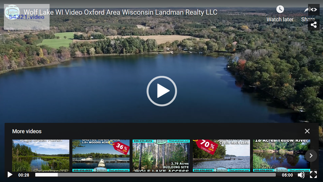 Wolf Lake WI Video