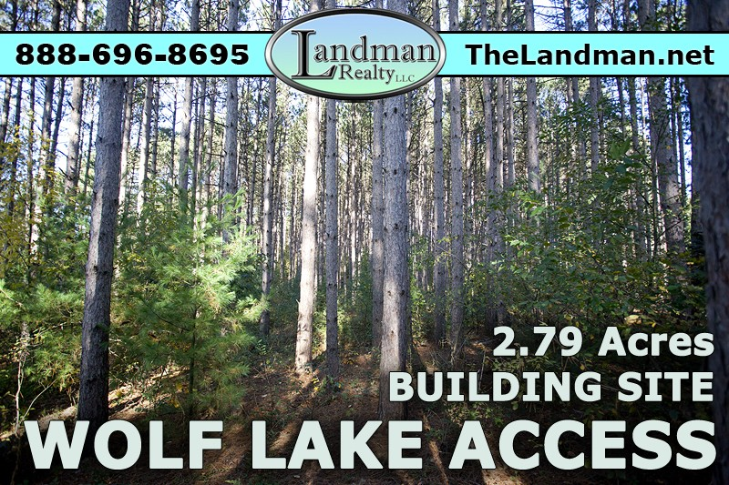Wolf Lake WI Deeded Lake Access Lot for Sale 2.79 Acres