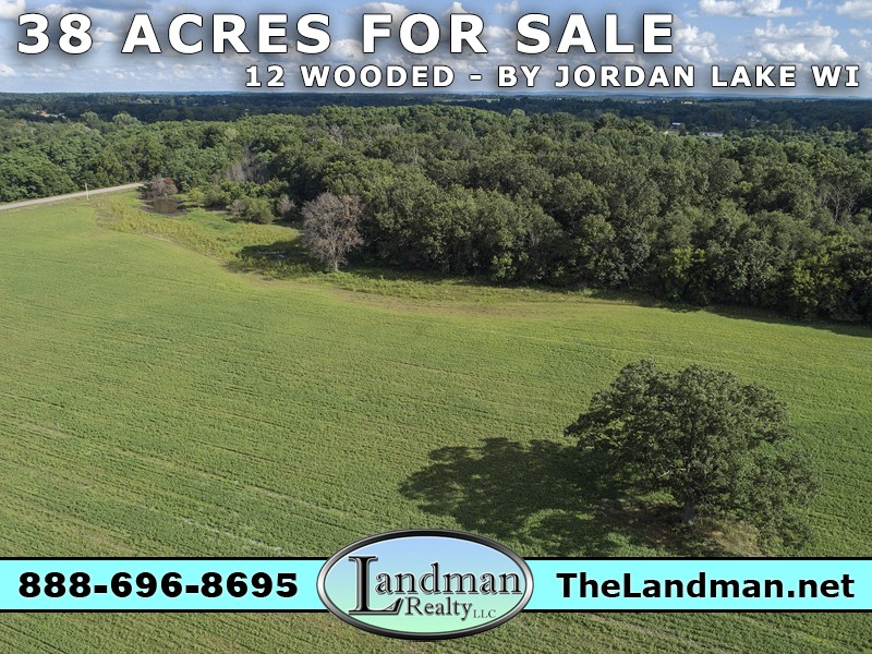 Wooded Farm Acreage for Sale by Jordan Lake WI – 38 Acres- Video FULL
