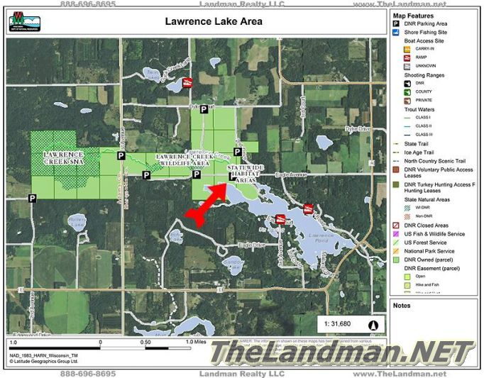 Lawrence Lake Area Eagle Ave Lake Map