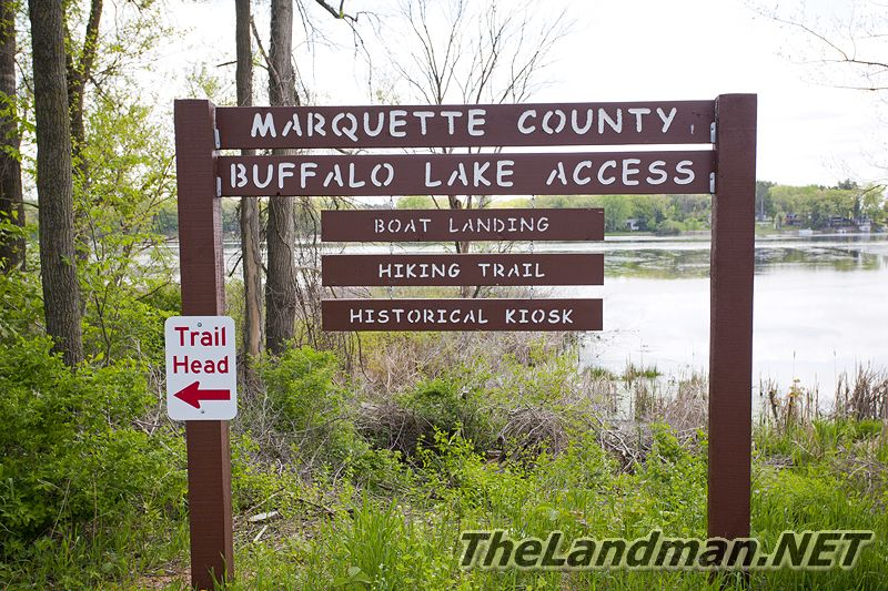 Buffalo Lake Access, Marquette County, Boat Landing, Hiking Trail, Historical Kiosk