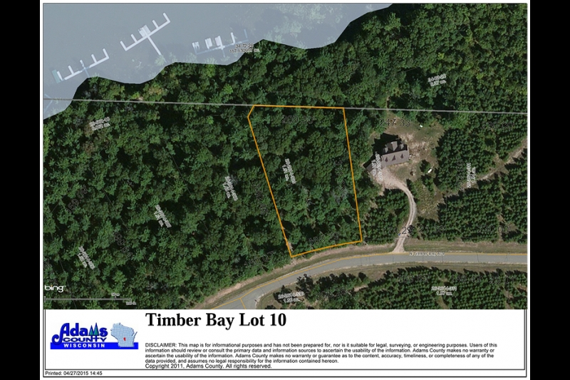 Timber Bay Lot 10 Aerial Lot Map