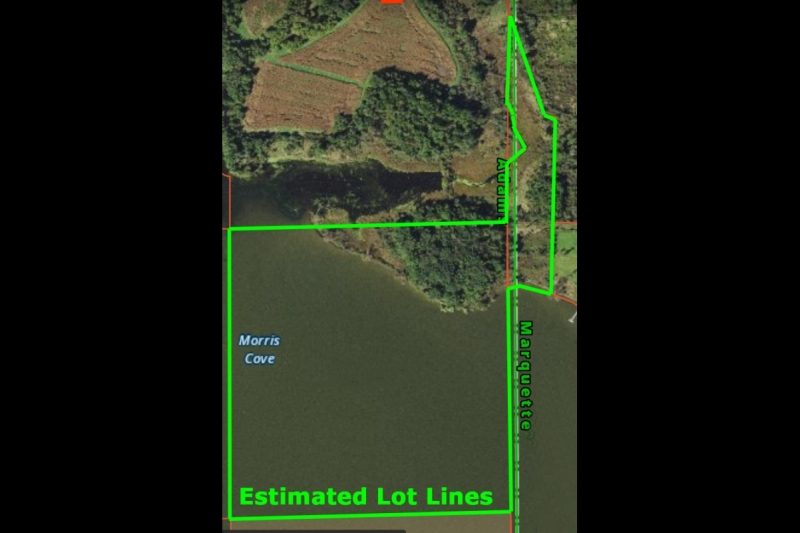 45 Acres Mason Lake Aerial Estimated Lot Line